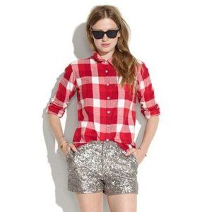 Madewell Checked Flannel Boy Shirt Red White Plaid